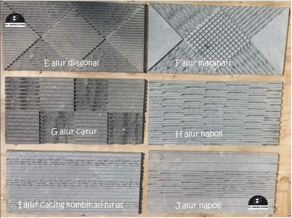 motif batu alam andesit dengan alur kombinasi