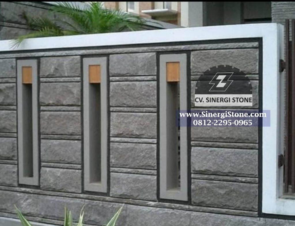 Contoh aplikasi batu andesit rata alam untuk dinding pagar